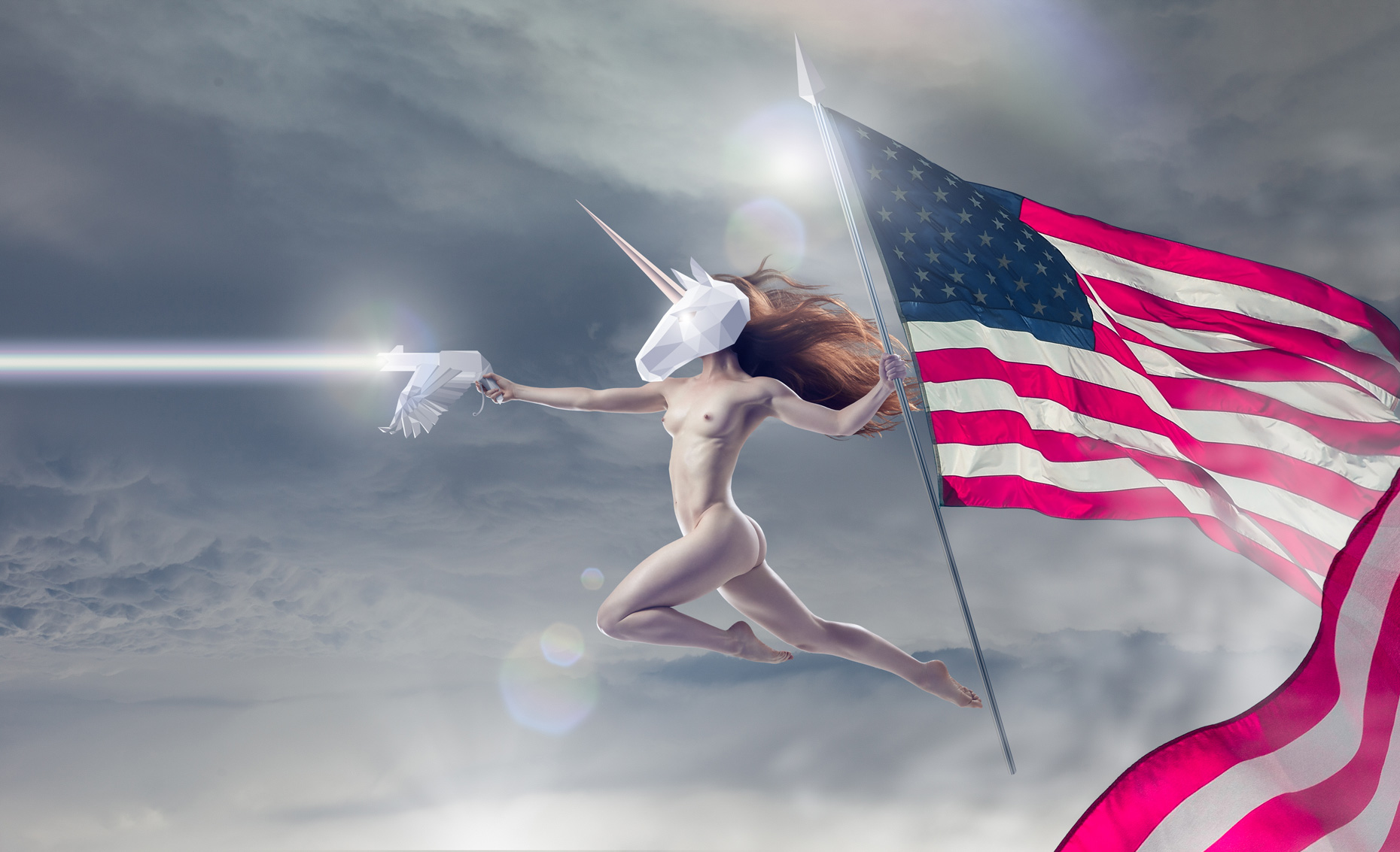 Kitfox Valentín : Fourth of July Unicorn Spirit of Patriotism, Independence Day & America, wielding her flag bearing Spear of Destiny and Bald Eagle ray gun of truth & rainbows